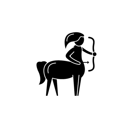Sagittarius zodiac sign black icon, concept vector sign on isolated background. Sagittarius zodiac sign illustration, symbol  イラスト・ベクター素材
