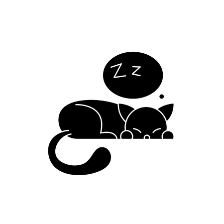 Sleeping cat black icon, concept vector sign on isolated background. Sleeping cat illustration, symbol