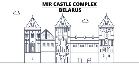 Belarus - Mir Castle Complex travel famous landmark skyline, panorama, vector. Belarus - Mir Castle Complex linear illustration