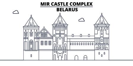 Belarus - Mir Castle Complex travel famous landmark skyline, panorama, vector. Belarus - Mir Castle Complex linear illustration