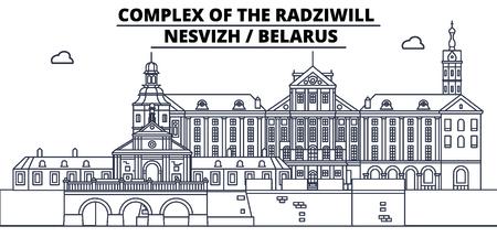 Belarus - Nesvizh, Radziwill travel famous landmark skyline, panorama vector. Belarus - Nesvizh, Radziwill linear illustration