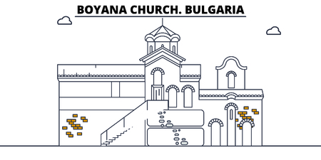 Bulgaria - Boyana Church travel famous landmark skyline, panorama vector. Bulgaria - Boyana Church linear illustration