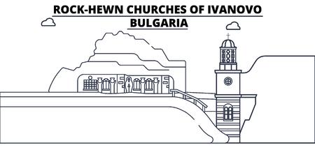 Bulgaria - Ivanovo, le chiese scavate nella roccia viaggiano sullo skyline famoso del punto di riferimento, vettore panoramico. Bulgaria - Ivanovo, illustrazione lineare delle chiese scavate nella roccia Vettoriali