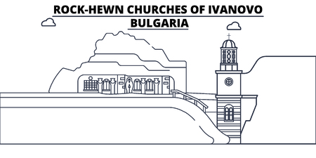 Bulgaria - Ivanovo, Rock-Hewn Churches travel famous landmark skyline, panorama vector. Bulgaria - Ivanovo, Rock-Hewn Churches linear illustration