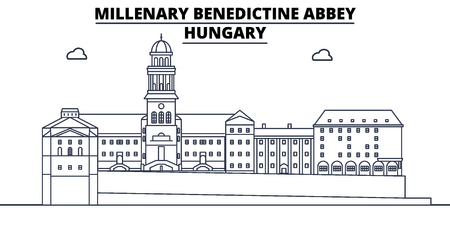 Hungary - Millenary Benedictine Abbey travel famous landmark skyline, panorama vector. Hungary - Millenary Benedictine Abbey linear illustration Иллюстрация