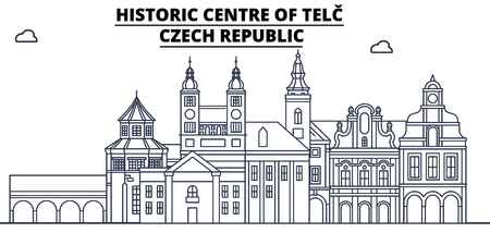 Czech Republic - Telc travel famous landmark skyline, panorama vector. Czech Republic - Telc linear illustration