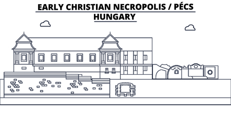 Hungary - Pecs, Early Christian Necropolis  travel famous landmark skyline, panorama vector. Hungary - Pecs, Early Christian Necropolis  linear illustration