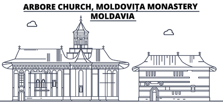 Moldavia - Arbore Church, Moldovita Monastery travel famous landmark skyline, panorama vector. Moldavia - Arbore Church, Moldovita Monastery linear illustration