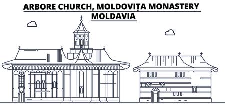 Moldavia - Arbore Church, Moldovita Monastery travel famous landmark skyline, panorama vector. Moldavia - Arbore Church, Moldovita Monastery linear illustration
