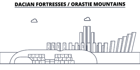 Rumania - fortalezas dacias, montañas de Orastie viajan famoso horizonte, vector panorama Rumania - Fortalezas Dacias, Ilustración lineal de las montañas de Orastie