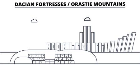 Romania - Dacian Fortresses, Orastie Mountains travel famous landmark skyline, panorama vector. Romania - Dacian Fortresses, Orastie Mountains linear illustration