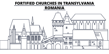 Romania - Fortified Churches In Transylvania travel famous landmark skyline, panorama vector. Romania - Fortified Churches In Transylvania linear illustration