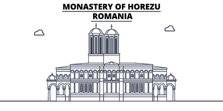 Romania - Horezu Monastery travel famous landmark skyline, panorama vector. Romania - Horezu Monastery linear illustration