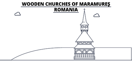 Romania - Maramures, Wooden Churches travel famous landmark skyline, panorama vector. Romania - Maramures, Wooden Churches linear illustration Ilustração