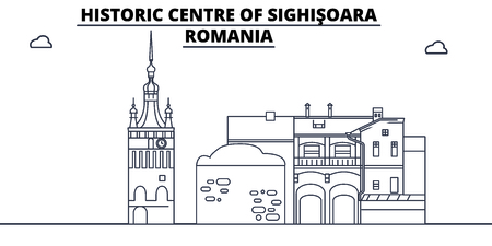 Romania - Sighisoara travel famous landmark skyline, panorama vector. Romania - Sighisoara linear illustration Иллюстрация