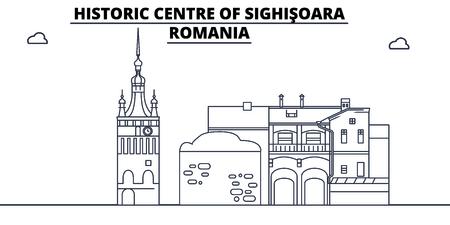 Romania - Sighisoara travel famous landmark skyline, panorama vector. Romania - Sighisoara linear illustration Illustration
