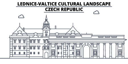 Czech Republic - Lednice - Valtice  travel famous landmark skyline, panorama vector. Czech Republic - Lednice - Valtice  linear illustration