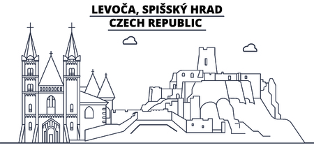 Czech Republic - Levoca, Spissky Hrad travel famous landmark skyline, panorama vector. Czech Republic - Levoca, Spissky Hrad linear illustration Archivio Fotografico - 113531711