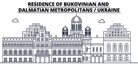 Ukraine - Bukovinian And Dalmatian Metropolitans travel famous landmark skyline, panorama vector. Ukraine - Bukovinian And Dalmatian Metropolitans linear illustration Illustration