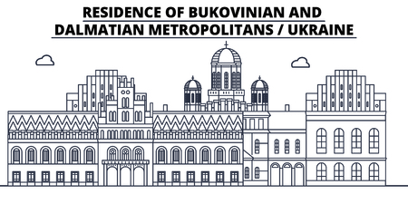 Ukraine - Bukovinian And Dalmatian Metropolitans travel famous landmark skyline, panorama vector. Ukraine - Bukovinian And Dalmatian Metropolitans linear illustration  イラスト・ベクター素材
