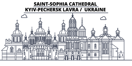 Ukraine - Kyiv-Pechersk Lavra travel famous landmark skyline, panorama vector. Ukraine - Kyiv-Pechersk Lavra linear illustration