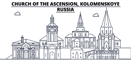 Russia - Kolomenskoye, Church Of The Ascension travel famous landmark skyline, panorama vector. Russia - Kolomenskoye, Church Of The Ascension linear illustration Stock Illustratie