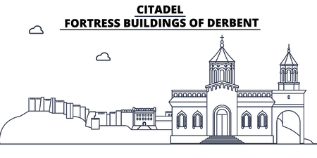 Russia, Dagestan, Derbent, Citadel travel famous landmark skyline, panorama vector. Russia, Dagestan Derbent Citadel linear illustration  イラスト・ベクター素材