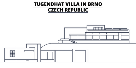 Czech Republic - Brno, Tugendhat Villa In travel famous landmark skyline, panorama vector. Czech Republic - Brno, Tugendhat Villa In linear illustration