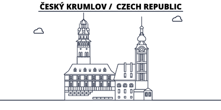 Czech Republic - Cesky Krumlov travel famous landmark skyline, panorama vector. Czech Republic - Cesky Krumlov linear illustration