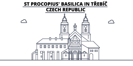 Czech Republic - Trebic, St Procopius Basilica travel famous landmark skyline, panorama vector. Czech Republic - Trebic, St Procopius Basilica linear illustration