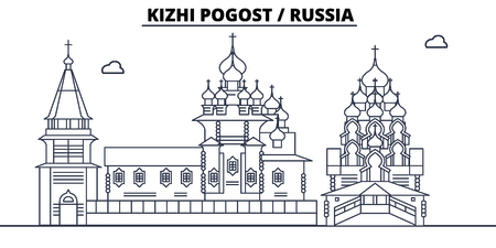 Russia - Kizhi Pogost travel famous landmark skyline, panorama vector. Russia - Kizhi Pogost linear illustration
