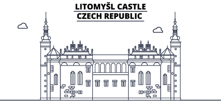 Czech Republic - Litomysl Castle travel famous landmark skyline, panorama vector. Czech Republic - Litomysl Castle linear illustration