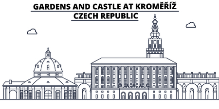 Czech Republic - Kromeriz, Gardens And Castle travel famous landmark skyline, panorama vector. Czech Republic - Kromeriz, Gardens And Castle linear illustration