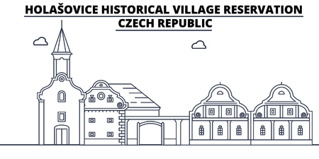 Czech Republic - Holasovice travel famous landmark skyline, panorama vector. Czech Republic - Holasovice linear illustration