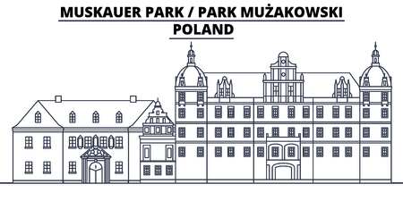 Poland - Muskauer, Muzakowski  Park  travel famous landmark skyline, panorama vector. Poland - Muskauer, Muzakowski  Park  linear illustration