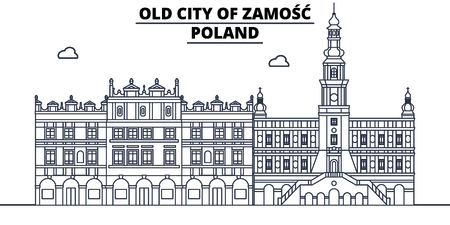 Poland - Zamosc travel famous landmark skyline, panorama vector. Poland - Zamosc linear illustration