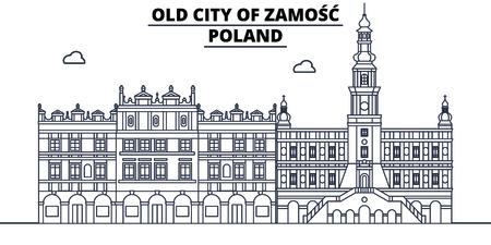 Poland - Zamosc travel famous landmark skyline, panorama vector. Poland - Zamosc linear illustration