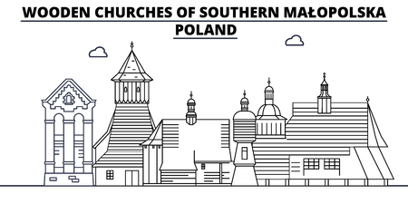 Poland - Southern Malopolska, Wooden Churches travel famous landmark skyline, panorama vector. Poland - Southern Malopolska, Wooden Churches linear illustration Ilustração