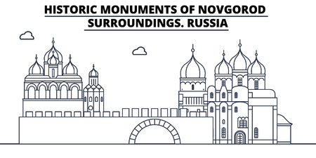 Russia - Novgorod travel famous landmark skyline, panorama vector. Russia - Novgorod linear illustration