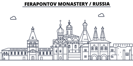Russia - Vologda, Ferapontov Monastery travel famous landmark skyline, panorama vector. Russia - Vologda, Ferapontov Monastery linear illustration Ilustração