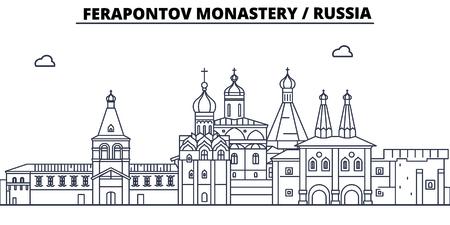 Russia - Vologda, Ferapontov Monastery travel famous landmark skyline, panorama vector. Russia - Vologda, Ferapontov Monastery linear illustration Illustration