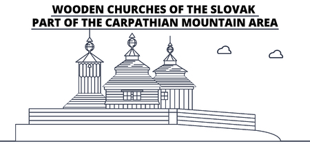 Slovakia - Wooden Churches In The Carpathian Mountain Area travel famous landmark skyline, panorama vector. Slovakia - Wooden Churches In The Carpathian Mountain Area linear illustration 向量圖像