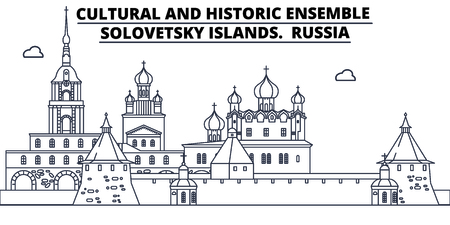 Russia - Solovetsky Islands travel famous landmark skyline, panorama vector. Russia - Solovetsky Islands linear illustration