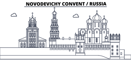 Russia, Moscow, Novodevichy Convent travel famous landmark skyline, panorama vector. Russia, Moscow, Novodevichy Convent linear illustration  イラスト・ベクター素材