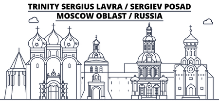 Russia - Sergiev Posad, Lavra travel famous landmark skyline, panorama vector. Russia - Sergiev Posad, Lavra linear illustration