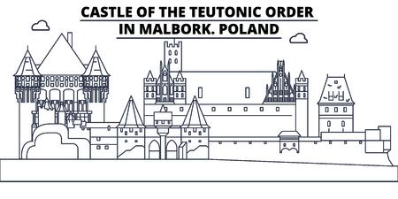 Poland - Castle Of The Teutonic Order In Malbork travel famous landmark skyline, panorama vector. Poland - Castle Of The Teutonic Order In Malbork linear illustration