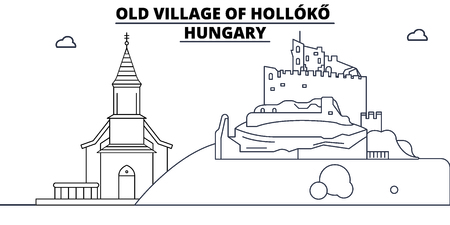 Hungary - Holloko, Old Village travel famous landmark skyline, panorama vector. Hungary - Holloko, Old Village linear illustration