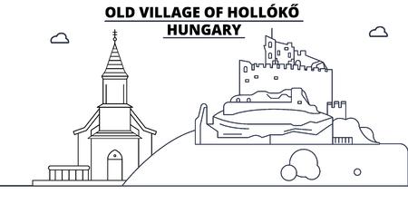 Hungary - Holloko, Old Village travel famous landmark skyline, panorama vector. Hungary - Holloko, Old Village linear illustration