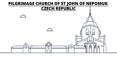 Czech Republic - Pilgrimage Church Of St John Of Nepomuk travel famous landmark skyline, panorama vector. Czech Republic - Pilgrimage Church Of St John Of Nepomuk linear illustration