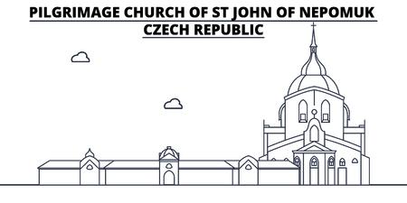 Czech Republic - Pilgrimage Church Of St John Of Nepomuk travel famous landmark skyline, panorama vector. Czech Republic - Pilgrimage Church Of St John Of Nepomuk linear illustration